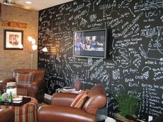 Awesome chalkboard paint wall from The Tao of Dana