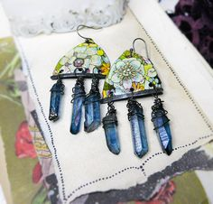 Rustic Vintage Tin Earrings - Flowers & Blue Quartz Daggers - Steel Wire Wrapped Crystals, Shabby Yellow and White Floral Metal Connectors