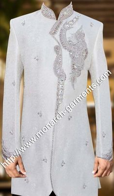 Sherwani white with silver decoration Wedding Dresses Men Indian, Wedding Dress Men, Mens Fashion Suits, Mens Suits, Womens Fashion, Angrakha Style, Wedding Sherwani, Oriental Fashion, African Attire