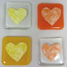 Fused Glass Magnet - Sunshine Yellow and Pumpkin Orange Heart - set of 4 £19.50