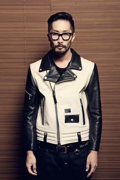 men's cream & Black leather biker jacket DIAFVINE 2012 Fall Collection www.eff-style.com