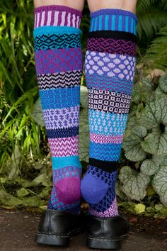 Raspberry Knee Highs from Solmate Socks are perfectly mismatched, in tasty shades of purple and blue. Solmate Socks, Cool Socks, Just My Size, High Knees, Knee High Socks, Fashion Socks, Shades Of Purple, Leg Warmers, Knitting Patterns
