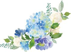 'Blue Watercolor Hydrangea' Tote Bag by junkydotcom - Modern Watercolor Cards, Watercolour Painting, Watercolor Flowers, Hortensia Hydrangea, Blue Hydrangea, Hydrangea Bouquet, Bouquet Flowers, Purple Flowers, Lavender Bouquet