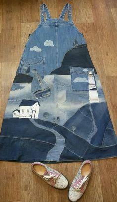 Denim Bag, Denim Outfit, Clothes Crafts, Sewing Clothes, Patchwork Jeans, Denim Ideas, Denim Crafts, Patched Jeans, Jeans Rock