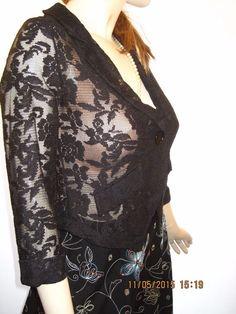 Xhilaration Size XS Stylish Black Lace Single Button Front Jacket 3/4 Sleeves #Xhilaration #ButtonFrontJacket
