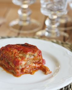 baked eggplant parmesan - made it with marcella hazan's tomato sauce