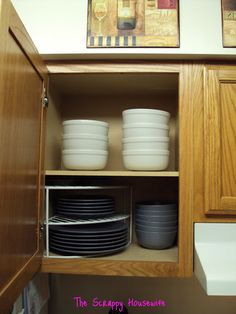The Scrappy Housewife: Homemaker's Challenge - Kitchen Reorganization Baker Dish Organization, Organizing Tips, A Shelf, Shelves, Clutter Solutions, Storage Solutions, Storage Ideas, Plate Organizer, Inside Cabinets