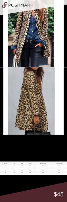 Leopard Coat Super cute leopard coat. This is a thin coat, good for layering over tops. It's a slim type so please check the sizing chart before you order. Material is polyester. Jackets & Coats
