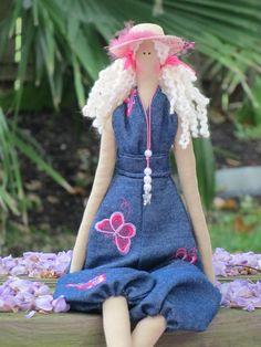 Fabric doll French girl cloth doll blonde by HappyDollsByLesya