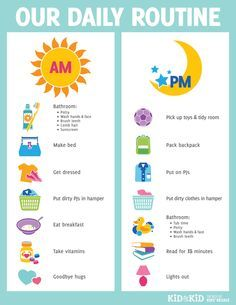 Great routine chart for kids helping them become more independent and responsible. More