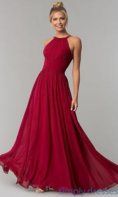 Long Chiffon Formal Prom Dress with Ruched Waist
