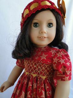 Hand Smocked Holiday Dress and Hat for American girl doll