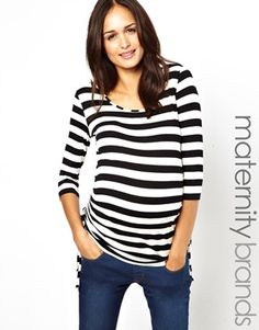 New Look Maternity Stripe Top With Side Ruched Detail