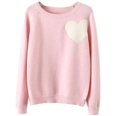 Pink Heart Pattern Long Sleeve Knitted Sweater (507.215 IDR) ❤ liked on Polyvore featuring tops, sweaters, shirts, long sleeves, extra long sleeve shirts, long length shirts, heart print shirt, pink shirts and round top