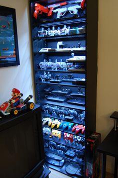 Video Game Controller Shelves via Reddit user background_spider