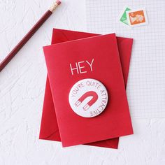 Funny greeting card with a fridge magnet for something a little bit cheeky on valentines day or your anniversary.    This cheeky card includes