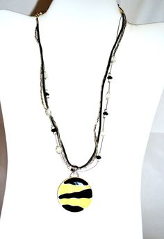 Stripes Pendant Necklace Beaded Multi Strand Vintage Jewelry #NKB10 63 by eventsmatters on Etsy