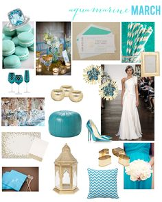 March Birthstone: Aqua Wedding on paper + pearls