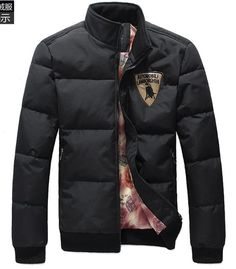 Men Thick Long Sleeve Stand Collar Black Leisure Polyester Down Jacket M/L/XL/XXL @X170731b