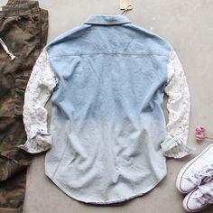 Denim & Lace Boyfriend Shirt - Soft worn denim pairs with sweet lace sleeves & a boyfriend fit.