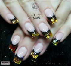 Luminous Nails and Beauty, Gold Coast Queensland. Acrylic and Gel Nails, Spray Tans. Sculptured Acrylic with Birthday, Masquerade, Lemonade Mylar, Gold Confetti, Yellow and Red Liquid art.
