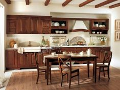 The wood kitchen classic style delighted elegant natural look. Several basic elements complete the overall picture of the kitchen. Portable Bar Table, Classical Kitchen, Transitional Dining Tables, Bright Kitchens, Classic Interior, Wooden Kitchen, Traditional Kitchen, Home Office Design, Modern