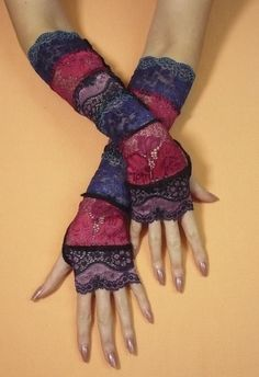 Segmented Gypsy Armwarmers, Stretchy Fingerless Lace Gloves, Boho Orient Belly Dance Style, Wicca, Crimson Navy Blue Arm Covers. $25.00, via Etsy.
