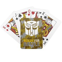 Transformers | Autobot Ready For Battle Camo Playing Cards #transformers #robots #in #disguise #kids #PlayingCards #children #gifts #playingcards #puzzles #sports #basketball #football #cards #football #pingpong #childrensbirthdaygifts Unique Birthday Gifts, Animal Skulls, Cartoon Kids, Poker, Pink And Green, Wedding Favors, Gifts For Kids, Camo, Battle