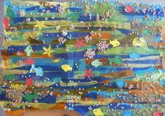 Fons marí: Un cartró gran, pintura de color blau, paper de seda de molts colors, cola líquida, cartulines, punxons, tisores, elements del mar que els nens i les nenes porten de casa, sorra de la platja, laca per fixar-ho bé i donar-li un bonic acabat.