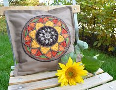 Pillow with Mandala Pillowcase with Crocheted by LillaBjornCrochet