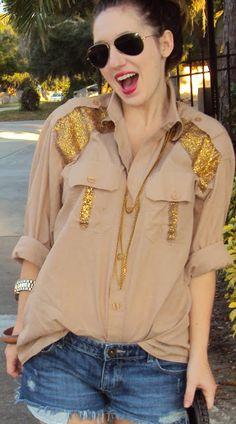 Megan Makes: Sparkled Button Up DIY   TfDiaries By Megan Zietz