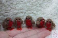 Needle felt Robin Christmas handmade miniature ornament winter shelf gift OOAK