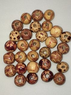 11 - 12 mm Wood Beads, Wooden Beads, Printed Beads  30 pc