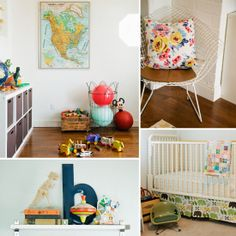 A Vintage-Mod Bedroom and Playroom For Two