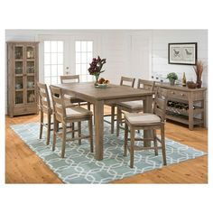 5 Piece Slater Mill Counter Height Dining Set with Ladderback Stools Wood/Reclaimed Pine - Jofran Inc.