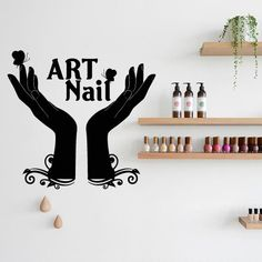 Wall Decal Decor Decals Art Nails Salon Nail Polish Beauty Design Master Varnish Polish Manicure Stylist Inscription Word Signboard (M1449)