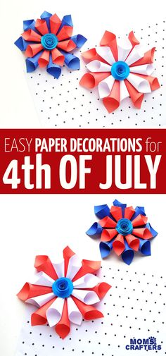 Clcik for cool paper of July decorations made from paper cones in a starburst shape with a rosette! These fun Patriotic independence day decor ideas are fun crafts for kids teens tweens and grown-ups. 4th Of July Decorations, Paper Decorations, Camping Decorations, Paper Crafts For Kids, Diy And Crafts, Easy Crafts, Pencil Crafts, 4th Of July Nails, Paper Cones