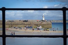 An alternative perspective of the lighthouse on Smeaton's Pier, St Ives, Cornwall