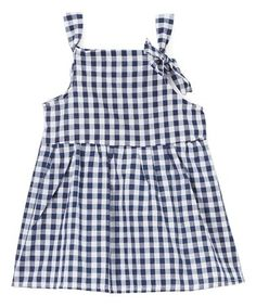 ONLY $1.49 MARKED DOWN FROM $28! Blue & White Gingham Bow Tiered Dress - Infant #baby #infant #sale #zulily #zulilyfinds