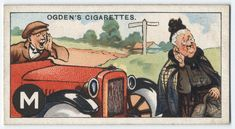 M is the MOTORIST, scathingly graphic . From New York Public Library Digital Collections. History Of Tobacco, New York Public Library, Old Postcards, Whimsical Art, Illustration Art, Design Inspiration, Digital, Artist, Sports