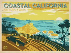 vintage california posters | coastal california poster by anderson design group