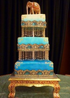 #Indian inspired blue and gold #wedding #cake
