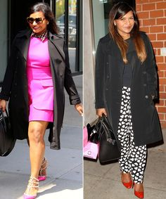 Great use of pink on left, pattern pants and color shoes on right. Super black coat to wear with lots of different length clothes.