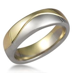 Two Tone Wave Wedding Band - This modern wedding ring combines two kinds of metals.    Please note that the price calculator yields quotes for one metal only; inquire within for two-tone pricing.
