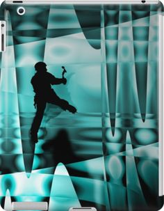 Climbing the frozen waterfall by mindgoop iPad case at redbubble