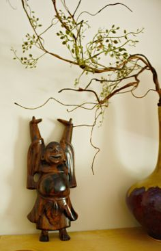 Meditation room details. Love the laughing #buddha