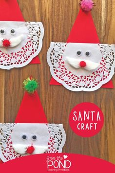 Easy Santa Craft for Kids Easy Santa Craft for Kids - Christmas paper craft that is easy prep and no mess. Use it as a decoration, banner, gift tag or tree decoration. Santa Crafts, Christmas Crafts For Kids To Make, Christmas Paper Crafts, Preschool Christmas, Noel Christmas, Holiday Crafts, Christmas Ornaments, Christmas Decorations For Kids, Christmas Activities For Kids
