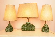 Mid Century Pottery Lamps Original Shades Green by whitepicket