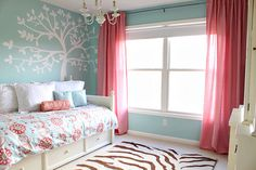 Benjamin Moore Iced Green paint, Serena and Lily bedspread    http://justagirlblog.com/girls-room-resource/