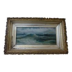 Antique New England Seascape Oil Painting on Canvas Signed Hillis E. Brundage